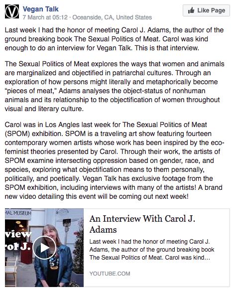 VeganTalk Carol Adams and overview