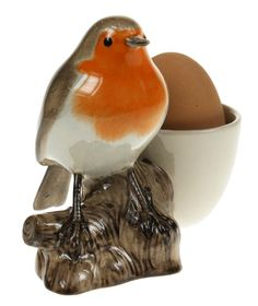 Robin with eggcup (chicken)